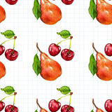 Seamless watercolor pattern with fruits Royalty Free Stock Photos