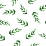 Seamless watercolor pattern with green leafs royalty free stock photography