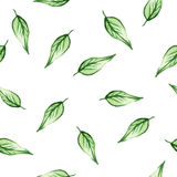 Seamless watercolor pattern with green leafs stock photography