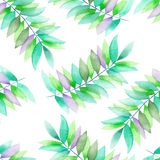 A seamless watercolor pattern with the green and violet leaves on the branches. A seamless floral pattern with the green and violet leaves on the branches, hand Stock Photo