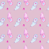 Seamless watercolor pattern with hand drawn feathers and red hearts Royalty Free Stock Photography