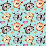 Watercolor Hand drawn cats Seamless Pattern Background vector illustration