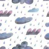 Seamless watercolor pattern with hand-drawn rainy clouds with clipping mask vector illustration