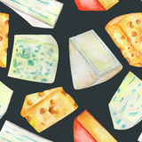 A seamless watercolor pattern with the hard Dutch cheeses and blue cheeses. Painted on a black (dark) background. Stock Image