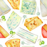 A seamless watercolor pattern with the hard Dutch cheeses and blue cheeses, spices and grapes. Painted on a white background. Royalty Free Stock Photos