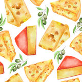 A seamless watercolor pattern with the hard Dutch cheeses and green olives. Painted on a dark (black) background. Stock Images