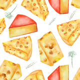 A seamless watercolor pattern with the hard Dutch cheeses and spices. Painted on a white background. Stock Images