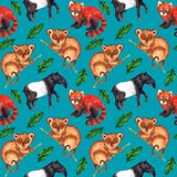 Seamless watercolor pattern hyperrealistic nature of the tropics of Asia - tapir, tarsier, red panda and palm leaves. On a blue-bird color background vector illustration