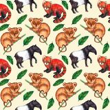 Seamless watercolor pattern hyperrealistic nature of the tropics of Asia - tapir, tarsier, red panda and palm leaves. On a pastel peach background royalty free illustration