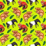 Seamless watercolor pattern hyperrealistic nature of the tropics of Asia - tapir, tarsier, red panda and palm leaves. On a lemon-yellow background stock illustration