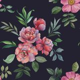 Seamless watercolor pattern. Illustration of flowers and leaves. vector illustration