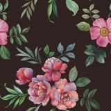 Seamless watercolor pattern. Illustration of flowers and leaves. stock illustration