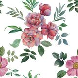 Seamless watercolor pattern. Illustration of flowers and leaves. royalty free illustration