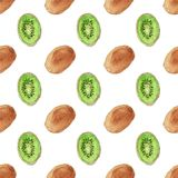 Seamless watercolor pattern with kiwi on the white Stock Photo