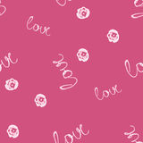 Seamless watercolor pattern with love word, vector illustration Royalty Free Stock Photos