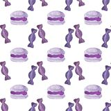 Seamless watercolor pattern with macaroons and Stock Photos