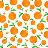 Seamless watercolor pattern with oranges and leaves , hand watercolor illustration. Perfect tasty pattern for your design. vector illustration