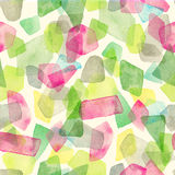 Seamless watercolor pattern with overlapped colorful dots - red, green, grey tints. Royalty Free Stock Photography