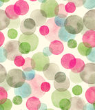 Seamless watercolor pattern with overlapped colorful dots - red, green, grey tints. royalty free illustration
