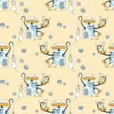Seamless watercolor pattern with painted modern robots for pets. Gears, science, technology, gadgets for life royalty free illustration
