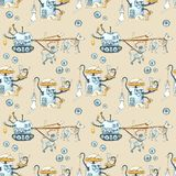 Seamless watercolor pattern with painted modern robots for pets. Gears, science, technology, gadgets for life vector illustration