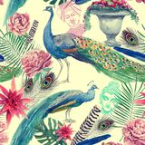 Seamless watercolor pattern with peacocks. Hand drawn . Seamless watercolor vintage pattern with peacocks, flowers, vase, Buddha and Maharajah head. Hand drawn Stock Image