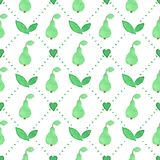 Seamless watercolor pattern with pears on the Stock Photos