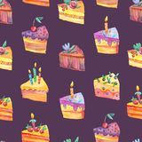 Seamless watercolor pattern with piece of cake on dark background. stock illustration