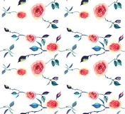 Seamless watercolor pattern with pink roses. Seamless watercolor pattern with pink tender roses Vector Illustration