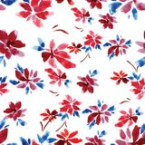 Seamless watercolor pattern of red flowers and blue leaves on a white background. Seamless watercolor pattern of red flowers and blue leaves for background Royalty Free Stock Image