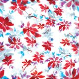 Seamless watercolor pattern of red flowers and blue leaves on a white background. Seamless watercolor pattern of red flowers and blue leaves for background Stock Photos