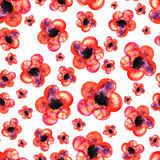 Seamless watercolor pattern of red flowers on white background Stock Photo