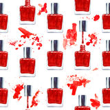 Seamless watercolor pattern with red nail polish on white Royalty Free Stock Photo