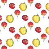 Seamless pattern with red and yellow apples vector illustration