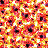 Seamless watercolor pattern of red and yellow flowers Stock Photography