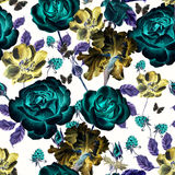 Seamless watercolor pattern with roses, anemones and irises. Raspberry and leaves. Royalty Free Stock Image