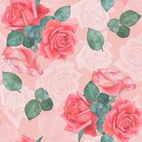 Seamless watercolor pattern of roses 3. Hand drawing. stock photos