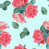 Seamless watercolor pattern of roses 5. Hand drawing. stock photo