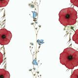 Seamless watercolor pattern in a row with red poppies, butterflies and wildflowers. Royalty Free Stock Image