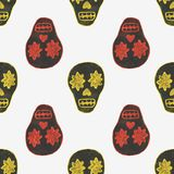 Seamless watercolor pattern with skary sugar. Skulls on the white background, aquarelle.  Vector illustration. Hand-drawn background. Useful for invitations Stock Photography