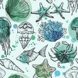 Seamless watercolor pattern with sketch of sea shells, fish, corals and jellyfish. Hand Drawn background royalty free illustration