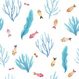 Seamless watercolor pattern of small fish and seaweeds stock illustration