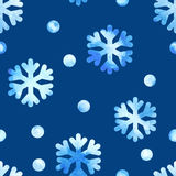 Seamless watercolor pattern with snowflakes Stock Image