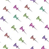 Seamless watercolor pattern of stationery buttons, on a white background