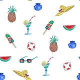 Seamless watercolor pattern summer stuff on white background. Hand illustration stock photo