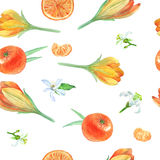 Seamless-watercolor-pattern-with-tangerines-and-flowers vector illustration