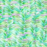 A seamless watercolor pattern with the transparent green and violet leaves on the branches Stock Photography
