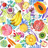 Seamless watercolor pattern of tropical garden fruit. jungle nature plant background. Seamless watercolor pattern of paradise garden plant. jungle nature Royalty Free Stock Image