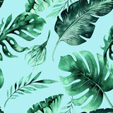 Seamless watercolor pattern of tropical leaves, dense jungle. Ha. Nd painted palm leaf. Texture with tropic summertime may be used as background, wrapping paper vector illustration