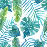 Seamless watercolor pattern of tropical leaves royalty free illustration